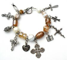 Religious Charm Bracelet with Sterling Silver Crosses Bible Fish Glass Beads 7""