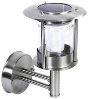 Stainless Steel White LED Wall Light Outdoor Solar Powered Garden Lantern Light