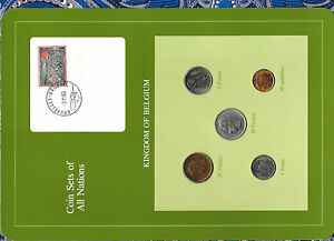 Coin Sets of All Nations Belgium w/card 1974-1983 UNC 10 Francs 74 20 Franc 1980