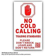 No Cold Calling, CIARLATANO chiamanti esterni, sotto porta campana avvertimento adesivo segno