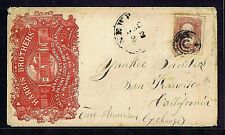 SC# 65 1861 ON ILLUS AD COVER LOCK MFRS, FANCY C IN CIRCLES CANCEL, NEWPORT NY