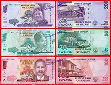 MALAWI 20 50 y 100 Kwacha 2016  Pick Nuevo New  SC / UNC