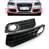 2pcs Front Bumper Fog Light Grilles Lower Mesh Trim Fits Audi A4 B8 AL 2009-2012