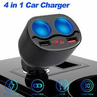 Car Cigarette Lighter Socket Splitter QC3.0 Dual USB Charger Power Adapter 12V