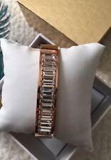 Michael Kors Rose Gold Tone Bracelet Crystal Hinged Bangle Bracelet NEW
