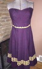GIRLS FROM SAVOY Anthropologie Aubergine Sky Fit & Flare Embroidered Dress sz 6