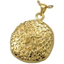 Sand Dollar Ash Holder Cremation Urn Pendant Necklace 18k Gold Plated Silver