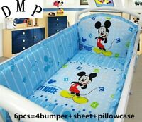 6PCs Mickey Mouse Baby Crib Cot Bedding Set Nursery Boy Girl Infant Cradle Set