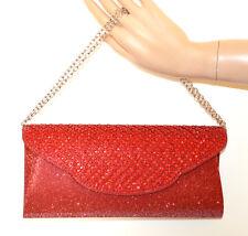 BOLSO pochette ROJO cristales mujer elegante bolsa strass red clutch bag G56