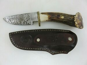 """Legend Forge Stag Handle Drop Point Hunter Utility Knife 4-5/8"""" Damascus Blade"""
