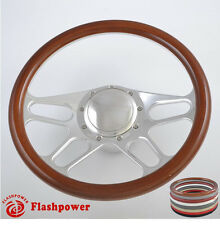 14'' Billet Steering Wheels Woodgrain Bronco F150 Mercury Capri Lincoln