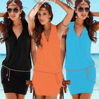 Womens Lace Party Cocktail Mini Dress Ladies Summer Sleeveless Skater Dresses