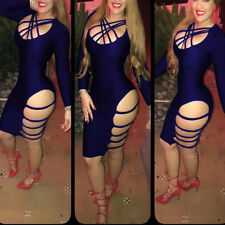 USA Women Fashion Sexy Long Sleeve Bandage Hollow Out Club Body con Party Dress