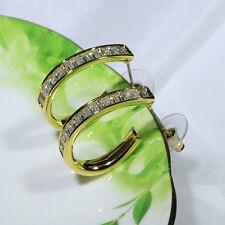 18K Yellow Gold Filled CZ Women Fashion Jewelry Stud Dangle Hoop Earring E2936