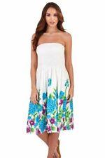 Ladies 100% Cotton Summer 3 in 1 Strapless Blue Floral Sun Dress Skirt