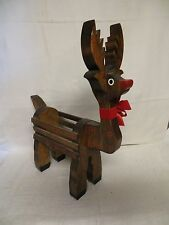 "Hand Made Hand Crafted Wood Reindeer - 16"" Long - Christmas"