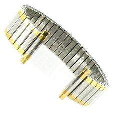 16-22mm Hirsch Bijou Twist-O-Flex Stainless Steel Textured Two Tone Watch Band