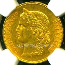 SWITZERLAND 1894 B GOLD COIN 20 FRANCS * NGC CERTIFIED GENUINE AU 55 * EXQUISITE