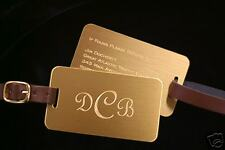 SOLID BRASS LUGGAGE TAG - Leather Strap - Free Engraving
