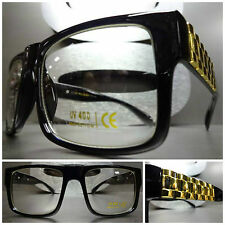 Mens Women VINTAGE STYLE Clear Lens EYE GLASSES Black Frame Gold Chain Link Arms