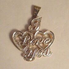 """14K Gold  """" I Love You """"  Pendant  1.25"""" BY 1"""""""