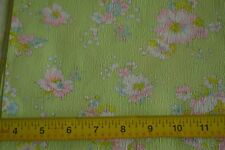 "By 1/2 Yd, 37"" Wide Vintage 1940's-60's, Floral on Lime-Green Cotton Plisse, N43"