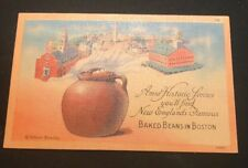 New England's Baked Beans in Boston, Massachusetts Linen Postcard Unused