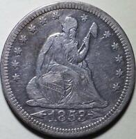 1853  Seated Liberty Quarter  - With Arrows and Rays - ** EF **
