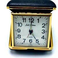 Working Vintage SETH THOMAS Travel ALARM CLOCK Germany black case - Tested
