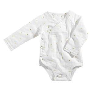 aden - anais Baby Long Sleeve Kimono Body Suit, Blossom, 9-12M, Gold, Size 9.0