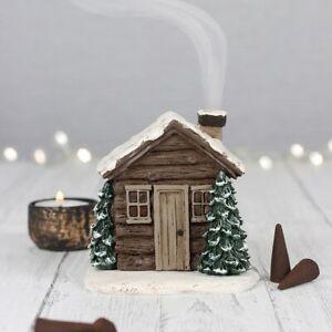 Log Cabin Incense Cone Burner, Winter Christmas Seasonal Home Decoration