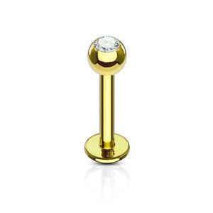 Labret Piercing Tragus Stud Earrings Gold Ball Crystal Stud Lip Piercing
