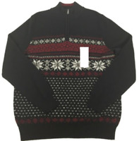 Croft & Barrow Men's Black 1/4 Zip Pullover Top Sweater 100% Cotton Size L NWT