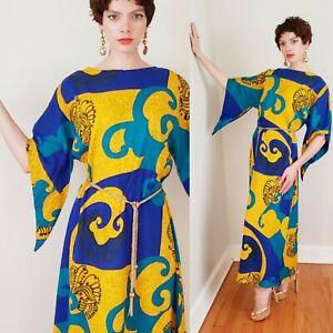 60s Blue Yellow Psychedelic Print Maxi Lounger Hawaiian Dress Kamehameha Tiki