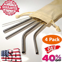 Stainless Steel Drinking Straw Variety Pack - 4 Food Safe Reusable Metal Straws