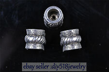 10Ps Silver End Caps Bead Stopper Fit 6mm Cord Jewelry Bracelet DIY Marking 7593