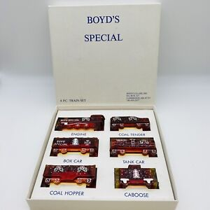 Boyd's Special Glass Train Painted Christmas Cherry Red 2001 Original Box