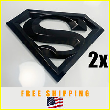 2x, DETAILED SUPERMAN Emblem Badge Logo Trunk Fender Glossy Black SUPER MAN 3D