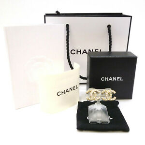 Authentic CHANEL CC LOGO Imitation Pearls and Rhinestone Earrings A13P #S109034