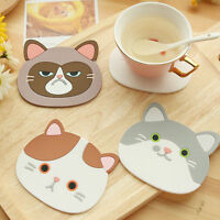 HN- Cat Shaped Tea Coasters Cup Holder Mat Coffee Drink Silicon Coaster Pads Nov