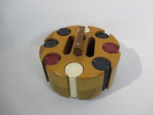 Poker Chips Wood Carousel Rack Vtg Plastic Red Blue White 197 Chips Man Cave