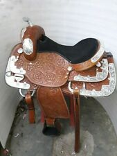 15'' western saddle fully  show saddle with silver corner canchos & saddlepad
