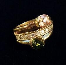 Peach Green Gem Statement Ring Rhinestone Sparkle Triple Band Gold Tone Sz 7.25