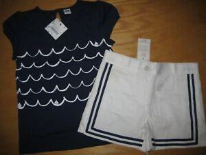 New Janie & Jack Riviera Santorini Sunset Sz 7 Set Blue Wave Shirt White Shorts