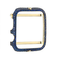 14k Gold Finish Apple Watch Bezel 42mm Blue Simulated Diamonds Iced Out Case