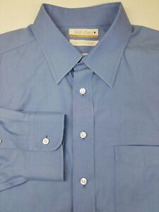 Roundtree Yorke Gold Label Non Iron EZ Wash Blue Long Sleeve Shirt 17 1/2 - 34
