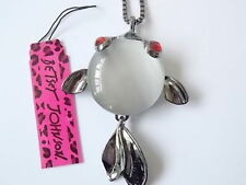 Betsey Johnson Koi Fish Pendant Necklace in Silver and Black