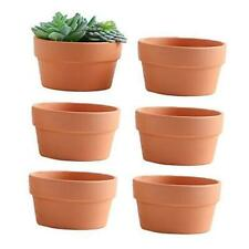 6 Inch Terracotta Shallow Planters,Ceramic Flower Clay Plant Pots with