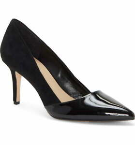 Enzo Angiolini Black Patent Leather Suede Pumps Draden Size 6 M $89