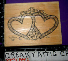 TWO HEARTS ROSES RUBBER STAMP WHIPPER SNAPPER A008